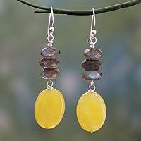 Labradorite dangle earrings, 'Sun Dancer' - Hand Made Yellow Agate and Labradorite Earrings