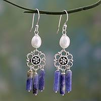 Cultured pearl and sodalite chandelier earrings,