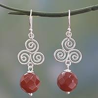 Carnelian dangle earrings, 'Whirlygig' (India)
