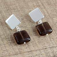 Smoky quartz dangle earrings, 'Squared Away' - Artisan Crafted Smoky Quartz and Sterling Silver Earrings