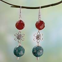 Carnelian dangle earrings, 'Delhi Blossom' - Carnelian and Agate Gemstone Floral Earrings from India