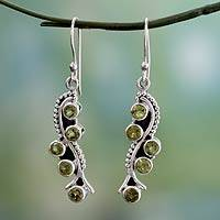 Peridot dangle earrings, 'Natural Glow' - Sterling Silver Earrings with Peridot 2.5 Carats