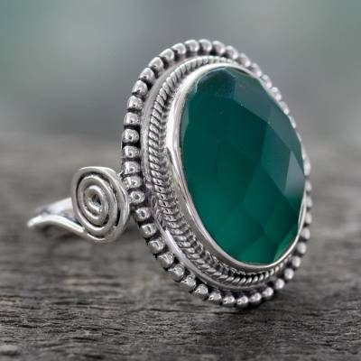Sterling Silver Cocktail Ring with Green Onyx