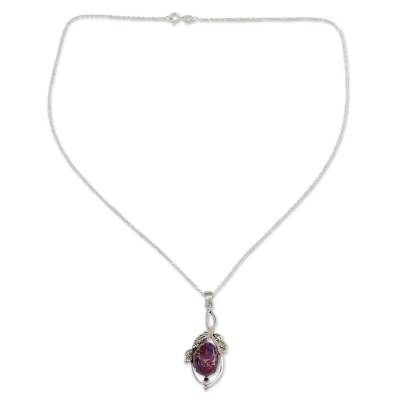 Indian Purple Composite Turquoise Sterling Silver Necklace