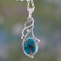 Sterling silver pendant necklace, 'Sky Whisper' - Blue Composite Turquoise Sterling Silver Necklace from India