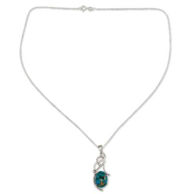 Blue Composite Turquoise Sterling Silver Necklace from India