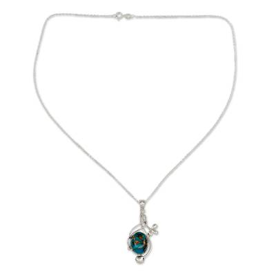Sterling Silver Necklace with Blue Composite Turquoise