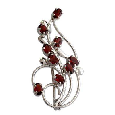 Floral Garnet and Sterling Silver Brooch Pin