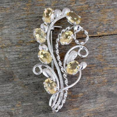 Citrine floral brooch pin, 'Sunshine Bouquet' - Fair Trade Citrine and Sterling Silver Brooch Pin
