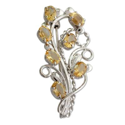 Fair Trade Citrine and Sterling Silver Brooch Pin