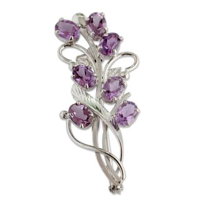 Artisan Jewelry Amethyst and Sterling Silver Brooch Pin