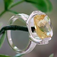 Citrine cocktail ring, 'Mumbai Sun' - 4 Carat Citrine Ring with Cubic Zirconia from India
