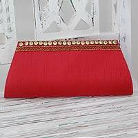 Beaded clutch, 'Red Romance' - Hand Beaded Red Clutch