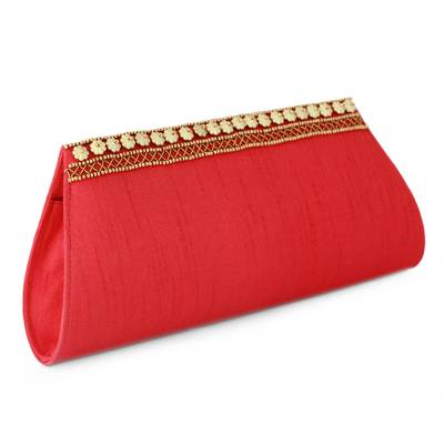Hand Beaded Red Clutch