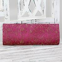 Embroidered clutch handbag,