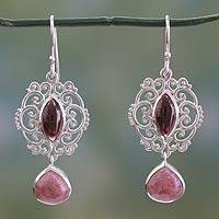 Garnet and rhodonite dangle earrings, 'Simply Sumptuous' - Classic Garnet Rhodonite Sterling Silver Earrings from India