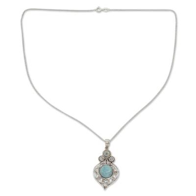 Fair Trade Larimar and Blue Topaz Silver Pendant Necklace