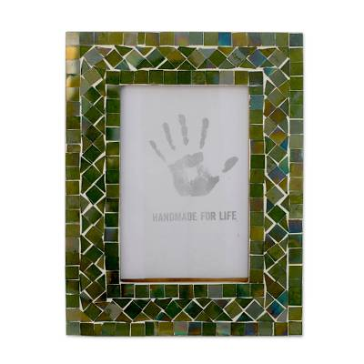 Glass mosaic photo frame, 'Magic Emerald' (4x6) - Indian Green Glass Mosaic Picture Frame