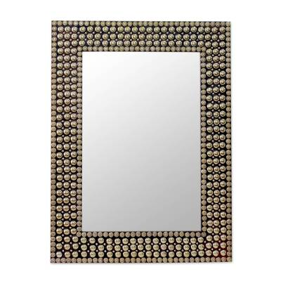 Hand-crafted Brass Stud Mosaic Wall Mirror from India