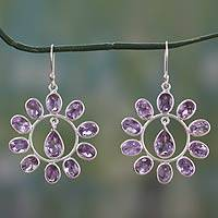 Amethyst flower earrings, 'Blossoming Lily' - 13 Cts Amethyst on Sterling Silver Hook Earrings
