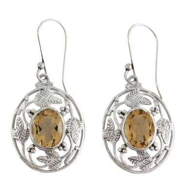Indian Sterling Silver Dangle Earrings with Citrine