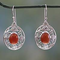 Carnelian dangle earrings, 'Fiery Avatar' - Fair Trade Sterling Silver Carnelian Earrings