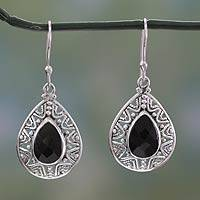 Onyx dangle earrings, 'Timeless Ganges' - Fair Trade Onyx and Sterling Silver Hook Earrings