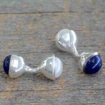 Cultured pearl and lapis lazuli cufflinks, 'Urban Sky' - Lapis Lazuli and Cultured Pearl Silver Cufflinks