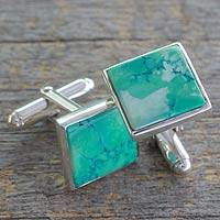 Sterling silver cufflinks, 'Opportunity' - Sterling Silver Cufflinks with Reconstituted Turquoise