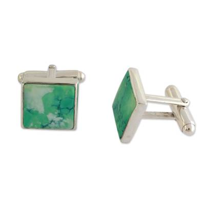 Sterling Silver Cufflinks with Reconstituted Turquoise