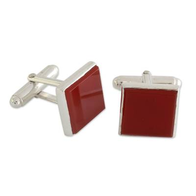 Indian Sterling Silver Cufflinks with Carnelian