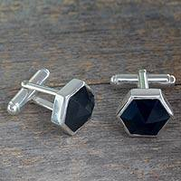 Onyx cufflinks, 'Be a Star' - Modern Sterling Silver and Onyx Cufflinks from India