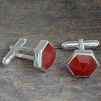 Carnelian cufflinks, 'Be a Star' - Sterling Silver Cufflinks Set with Hexagon Faceted Carnelian