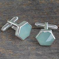 Chalcedony cufflinks, 'Be a Star' - Modern Aqua Chalcedony and Sterling Silver Cufflinks