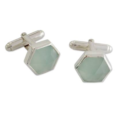 Modern Aqua Chalcedony and Sterling Silver Cufflinks