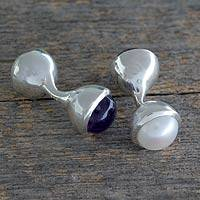 Cultured pearl and amethyst cufflinks, 'Purple Glow' - Amethyst and Cultured Pearl Cufflinks from India