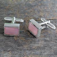 Chalcedony cufflinks, 'Opportunity' - Indian Silver Cufflinks with Pink Chalcedony