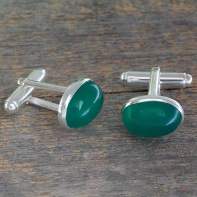 Onyx cufflinks, 'To Dream' - Sterling Silver and Green Onyx Cufflinks