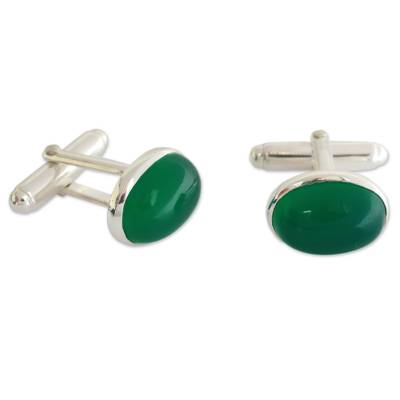 Sterling Silver and Green Onyx Cufflinks