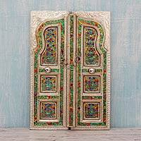 Meenakari wall panel, 'Royal Portal' - Handcrafted Metal Meenakari Wall Panel from India