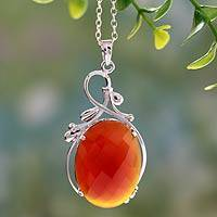 Carnelian pendant necklace, 'Sunset Garden' - Handcrafted Rhodium Plated Silver Necklace with Carnelian