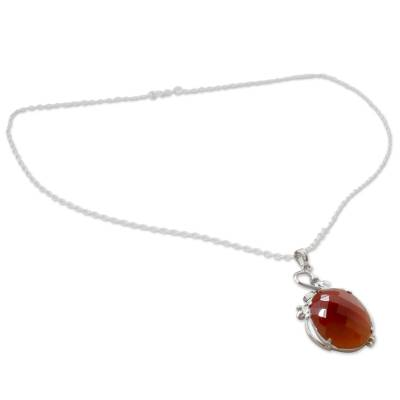 Handcrafted Rhodium Plated Silver Necklace with Carnelian