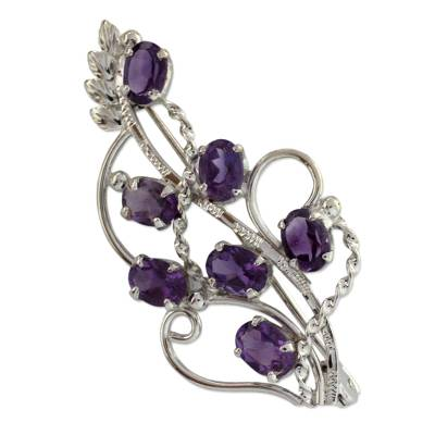 7 Carats Amethyst Sterling Silver Indian Brooch Pin