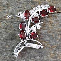 Garnet floral brooch pin, 'Spectacular' - 7 Carats Garnet and Sterling Silver Brooch Pin from India