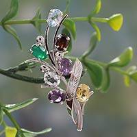 Multi gemstone brooch pin, 'Rainbow Bouquet' - Fair Trade Multi Gemstone and Sterling Silver Brooch Pin