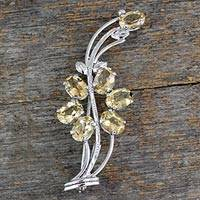 Citrine floral brooch pin, 'Marigold Sunshine' - Hand Crafted 7 Carats Citrine Sterling Silver Brooch Pin