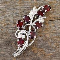 Garnet floral brooch pin, 'Floral Passion' - Garnet and Sterling Silver Floral Brooch Pin from India