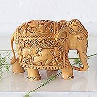 Wood sculpture, 'The Elephant and the Lion' - Detailed Handcarved Wood Sculpture from India