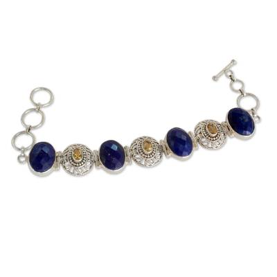 Indian Lapis Lazuli and Citrine Silver Jali Bracelet