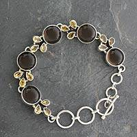 Smoky quartz and citrine link bracelet, 'Earthy Warmth' - Sterling Silver Link Bracelet with Smoky Quartz and Citrine